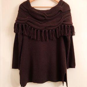 Soft Surroundings Sweater Chelsea Fringe Brown